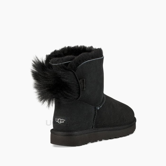 Женские полусапожки UGG Classic Mini Fluff Bow Boot Black