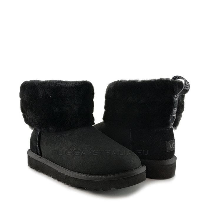 Женские полусапожки UGG Classic Mini Fluff Quilted Boot Black