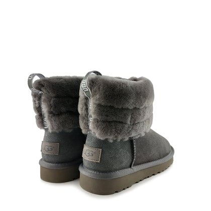 Угги UGG Classic Mini Fluff Quilted Boot Grey