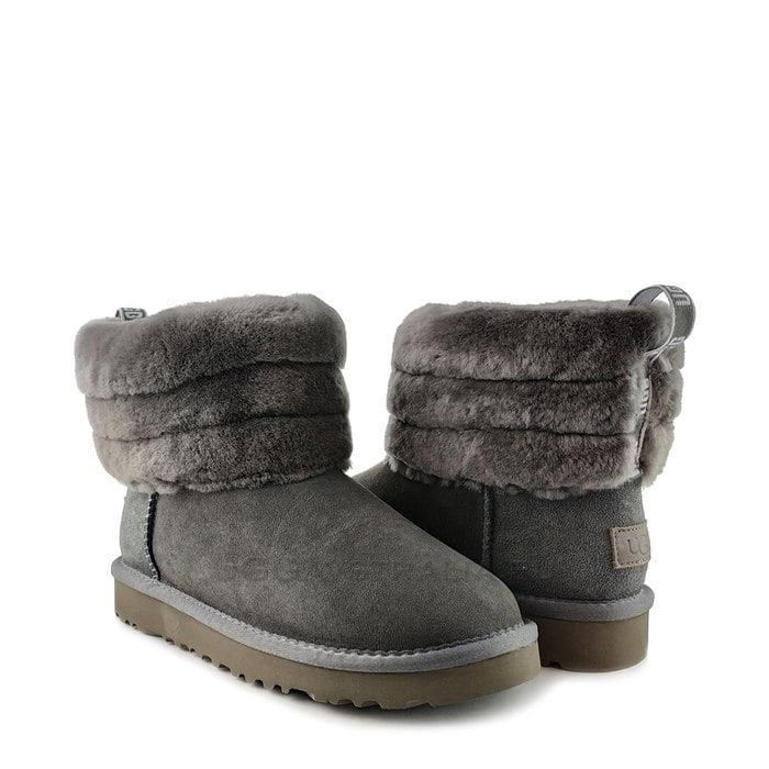 Женские полусапожки UGG Classic Mini Fluff Quilted Boot Grey