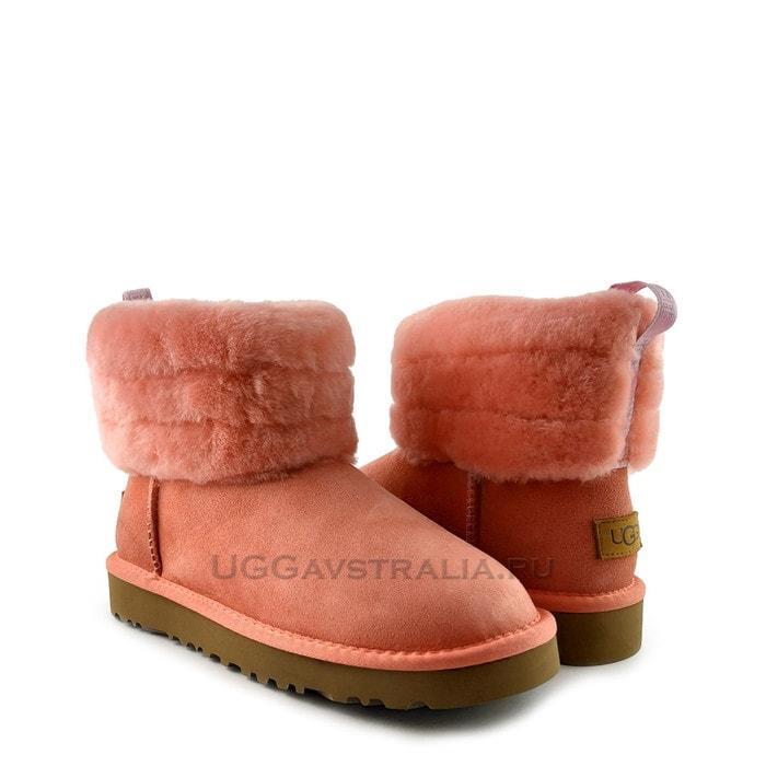 Женские полусапожки UGG Classic Mini Fluff Quilted Boot Rose