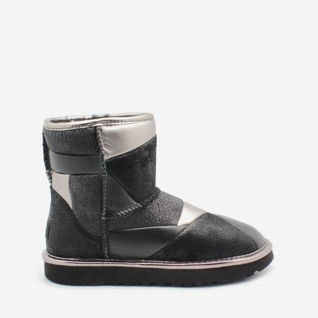 Угги UGG Classic Mini Glitter Patchwork Boot Black