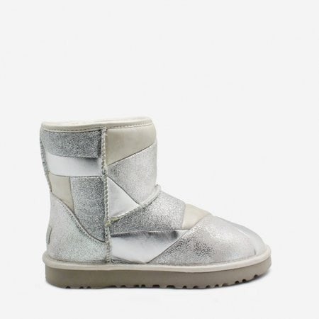 Угги UGG Classic Mini Glitter Patchwork Boot Silver