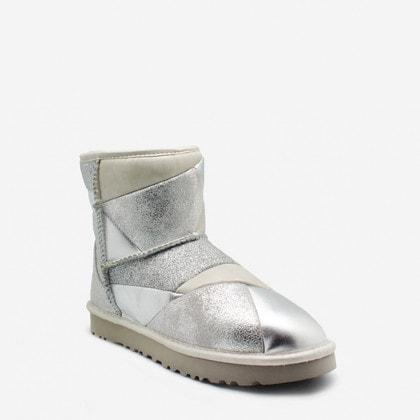 Угги UGG Classic Mini Glitter Patchwork Boot Silver
