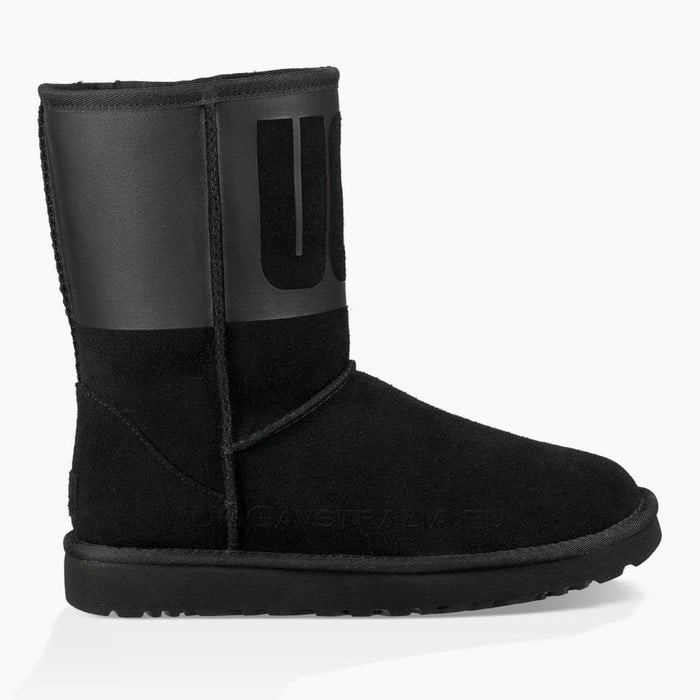 Женские полусапожки UGG Classic Short Rubber Boot Black