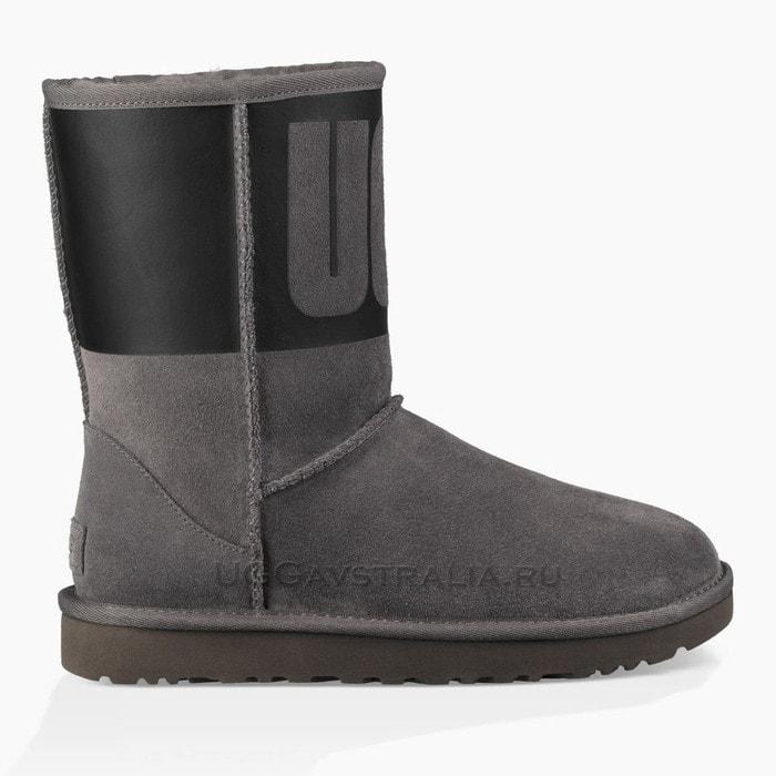 Женские полусапожки UGG Classic Short Rubber Boot Grey/Black