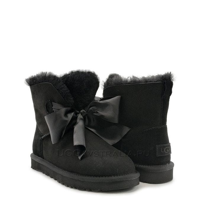 Женские полусапожки UGG Gita Bow Mini Boot Black