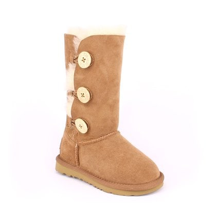 Угги UGG Kids Bailey Button II Triplet Chestnut