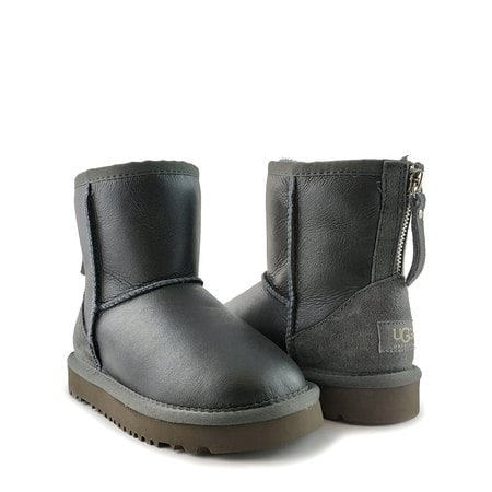 Угги UGG Kids Classic Short Zip Metallic Grey