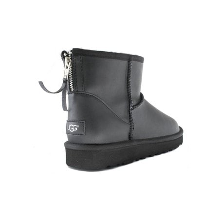 Угги UGG Mens Classic Mini Zip Rock Leather Black