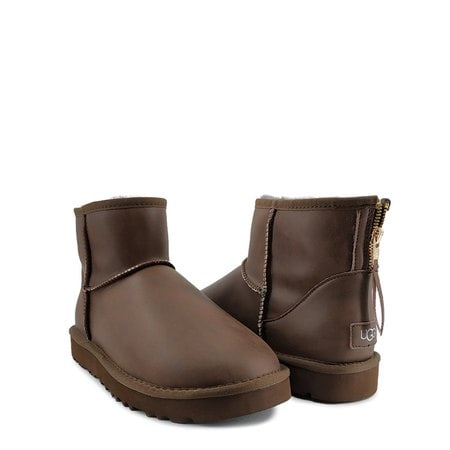 Угги UGG Mens Classic Mini Zip Rock Leather Chocolate