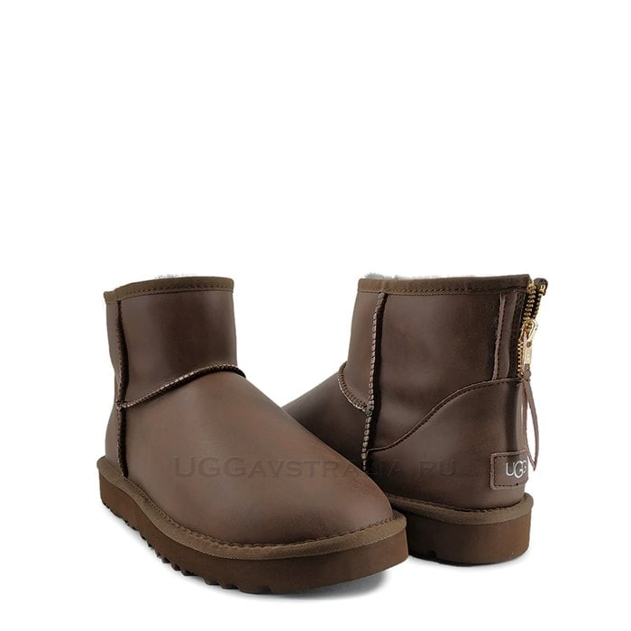 Мужские полусапожки UGG Mens Classic Mini Zip Rock Leather Chocolate