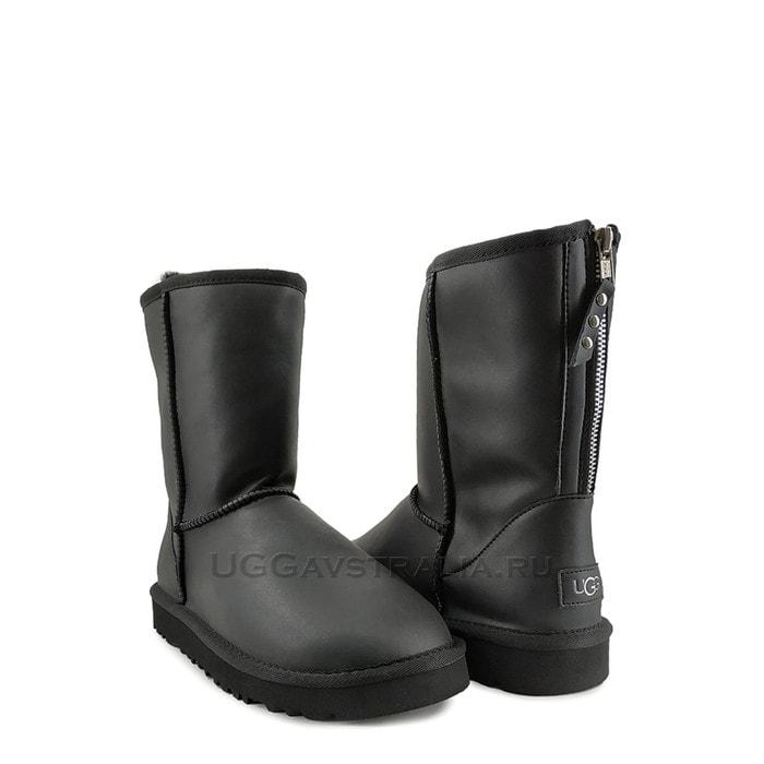 Мужские полусапожки UGG Mens Classic Short Zip Rock Leather Black