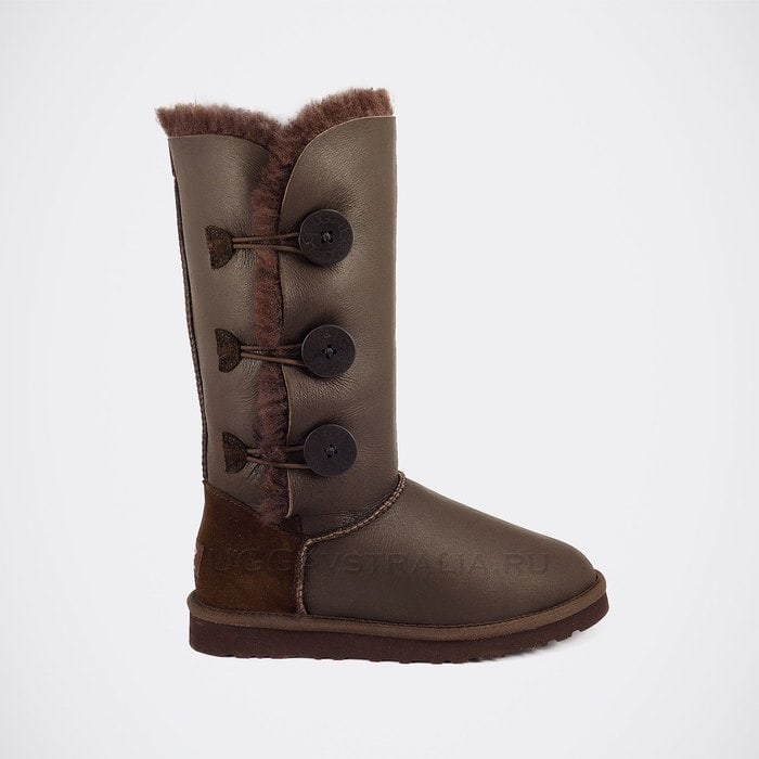 Женские полусапожки UGG Bailey Button Triplet Metallic Chocolate