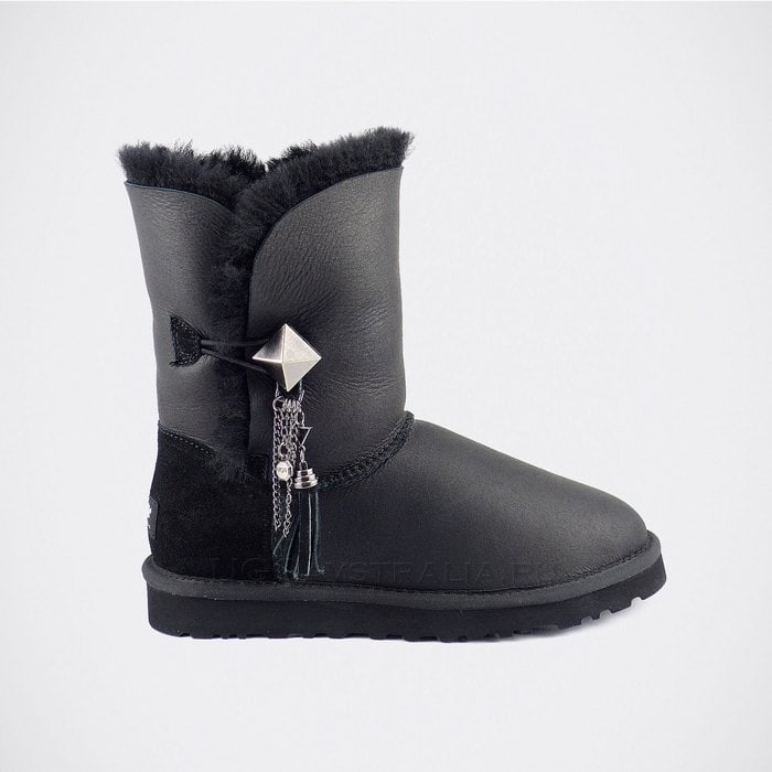 Женские полусапожки UGG Bailey Button Lilou Metallic Black
