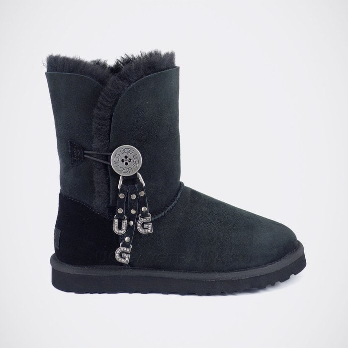 Женские полусапожки UGG Bailey Button Letter Charms Black