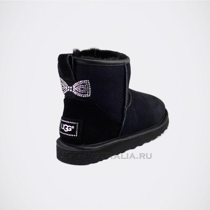 Женские полусапожки UGG Mini Crystal Bow Black