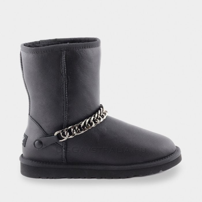 Женские полусапожки UGG Classic Short Chain Metallic Black