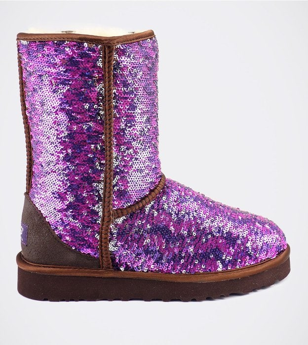 Женские полусапожки UGG Classic Short Sparkles Camo Purple