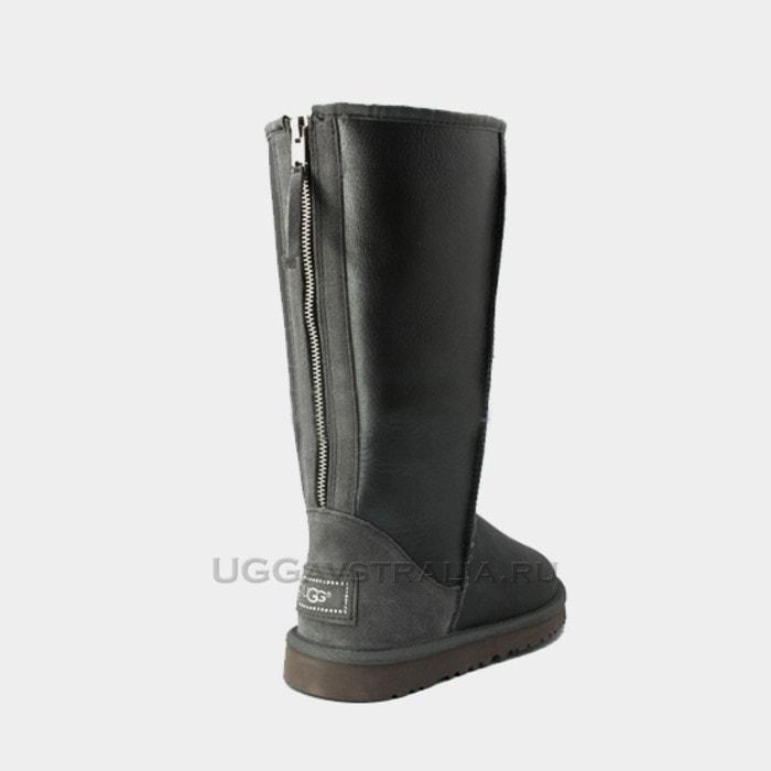 Женские полусапожки UGG Classic Tall Zip Metallic Grey