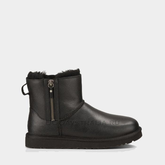 Женские полусапожки UGG Classic Mini Double Zip Leather Black