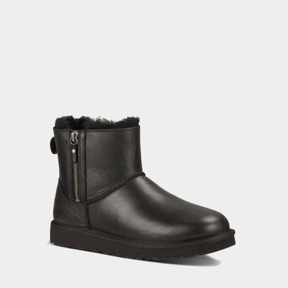 Угги UGG Classic Mini Double Zip Leather Black