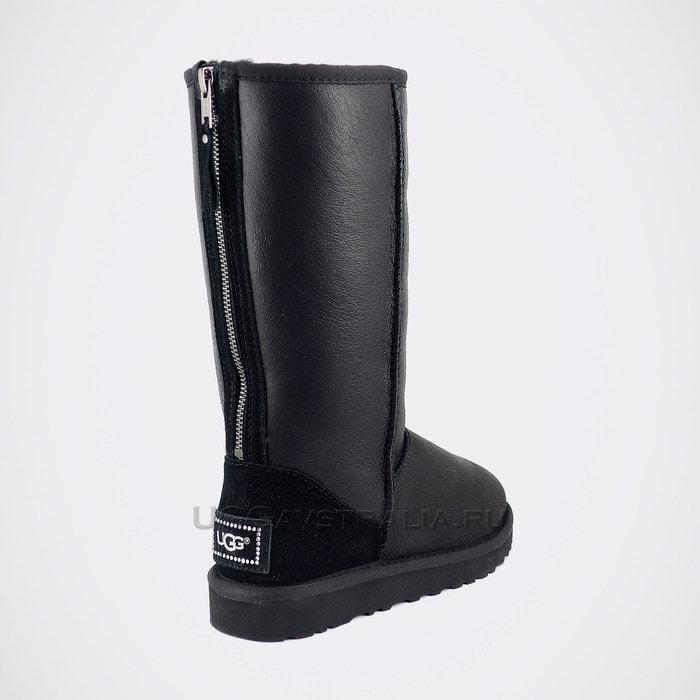 Женские полусапожки UGG Classic Tall Zip Metallic Black