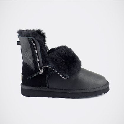 Угги UGG Classic Mini Double Zip Metallic Black