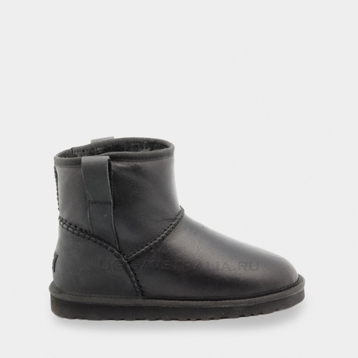 Мужские полусапожки UGG Mens Classic Mini Stitch Leather Black