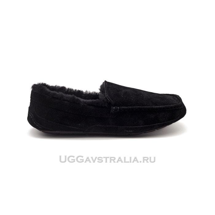 Мужские мокасины UGG Mens Ascot Black Fur