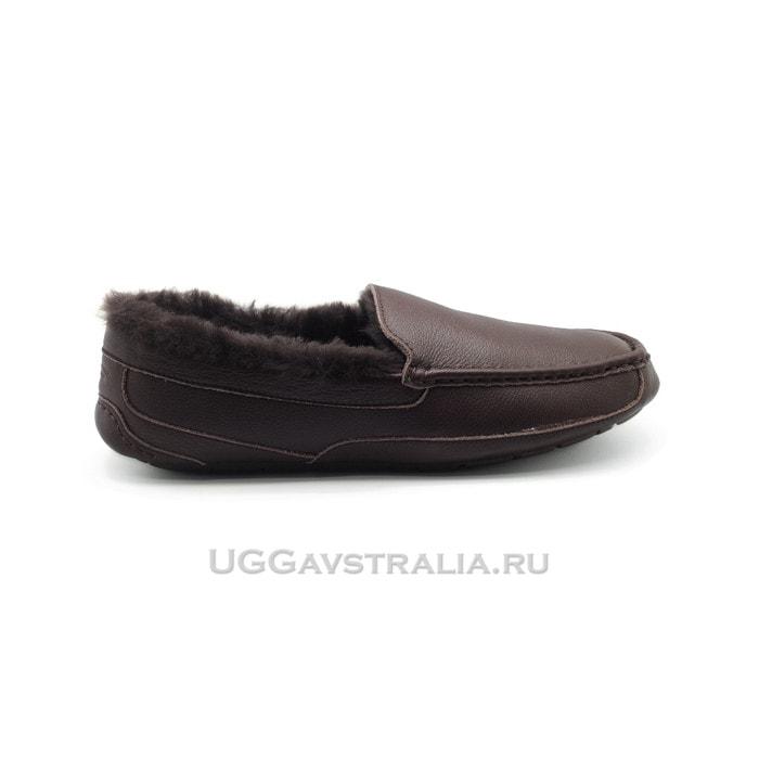 Мужские мокасины UGG Mens Ascot Leather Chocolate Fur