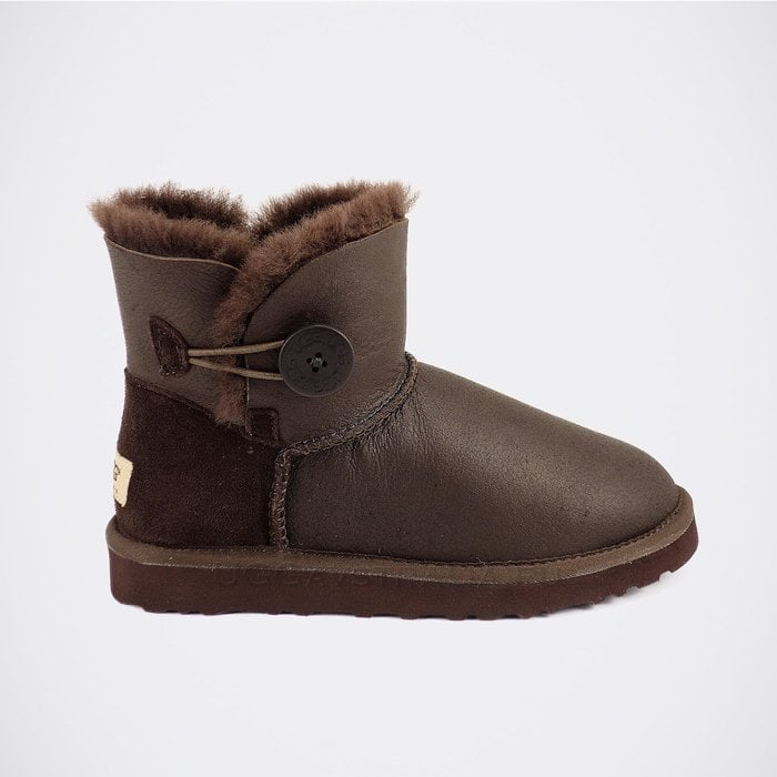 Женские полусапожки UGG Mini Bailey Button Metallic Chocolate