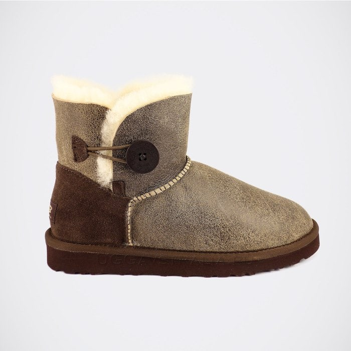 Женские полусапожки UGG Mini Bailey Button Bomber Chocolate