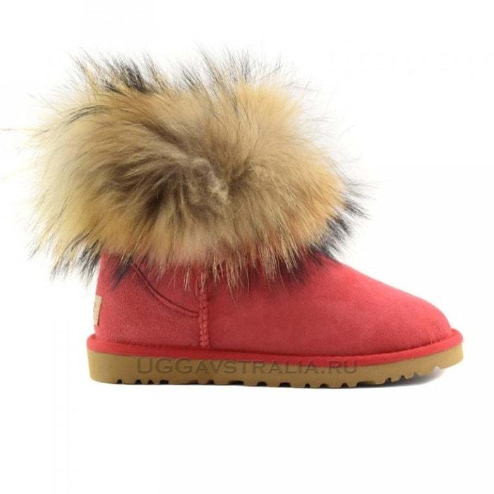 Женские полусапожки UGG Mini Fox Fur Red