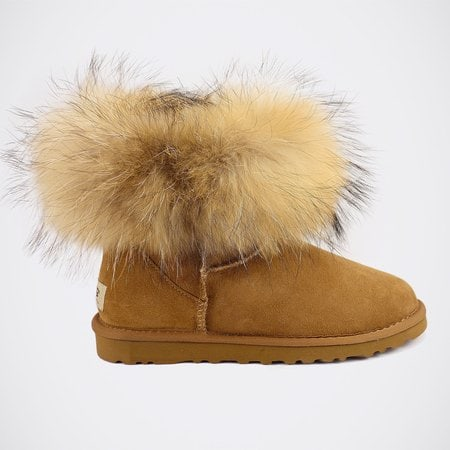 Угги UGG Mini Fox Fur Chestnut