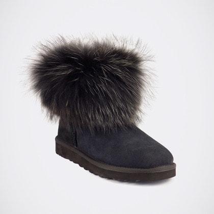 Угги UGG Mini Fox Fur Ultra Total Black