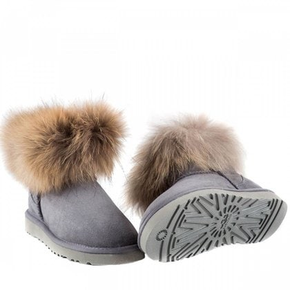 Угги UGG Mini Fox Fur Grey