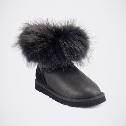 Угги UGG Mini Fox Fur Ultra Metallic Total Black
