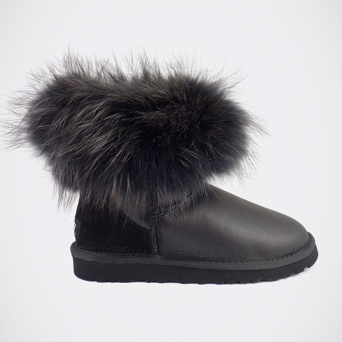 Женские полусапожки UGG Mini Fox Fur Ultra Metallic Total Black