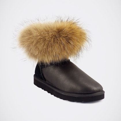 Угги UGG Mini Fox Fur Metallic Black
