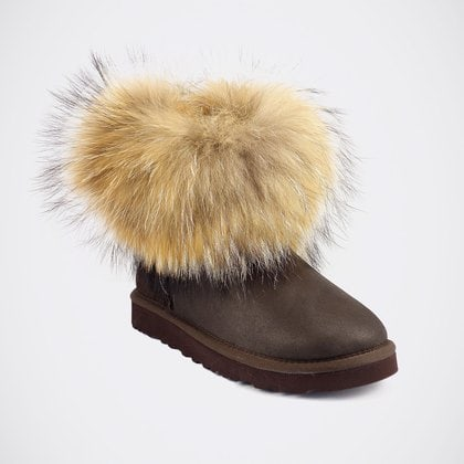 Угги UGG Mini Fox Fur Metallic Chocolate