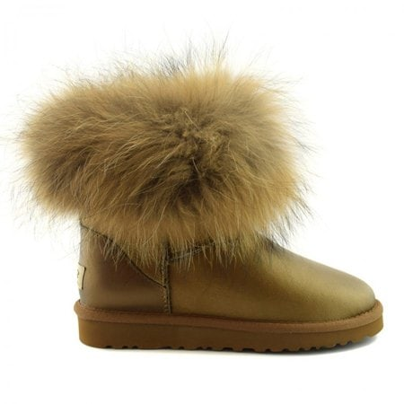 Угги UGG Mini Fox Fur Metallic Gold