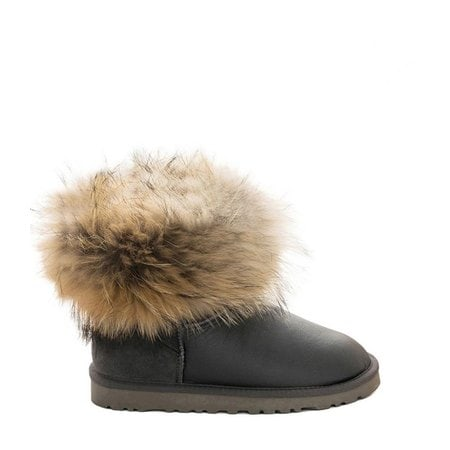 Угги UGG Mini Fox Fur Metallic Grey