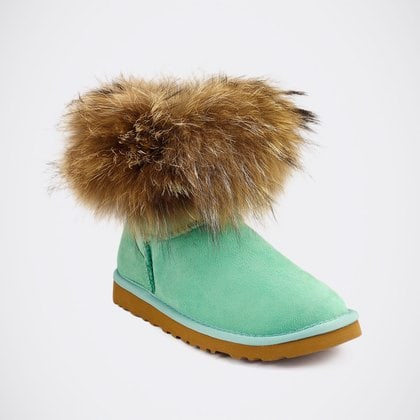 Угги UGG Mini Fox Fur Aqua