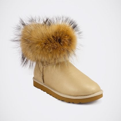 Угги UGG Mini Fox Fur Metallic Sand