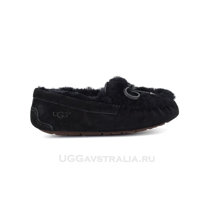 Женские мокасины UGG Ansley Fur Ornate Black