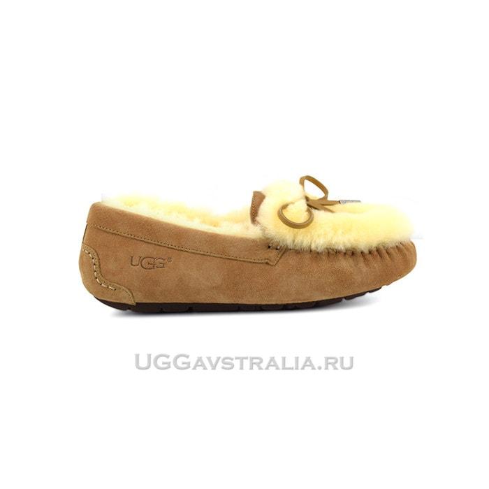 Женские мокасины UGG Ansley Fur Ornate Chestnut