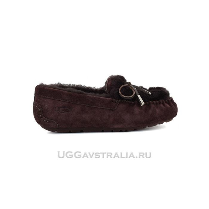 Женские мокасины UGG Ansley Fur Ornate Chocolate