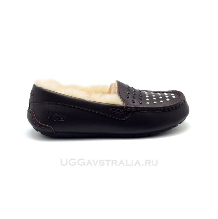 Женские мокасины UGG Ansley Pearls Leather Chocolate