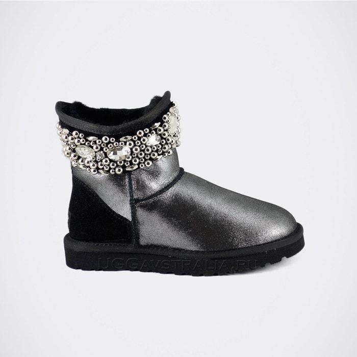 Женские полусапожки UGG Jimmy Choo Crystals Glitter Black
